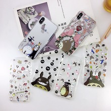 Japan Cute Cartoon Totoro Soft TPU Case For iPhone XS XR MAX Transparent X 6 6S 7 8 Plus