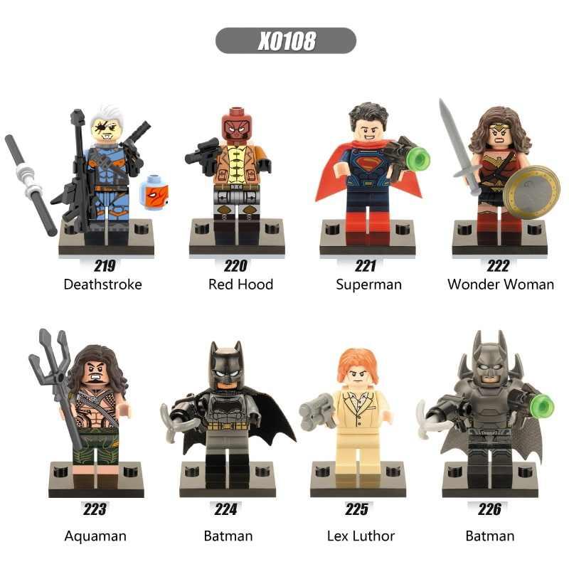 Jedna sprzedaż superbohaterowie Deathstroke red hood Aqua Man piraci Batman Wonder Woman Superman klocki zabawki dla dzieci X0108
