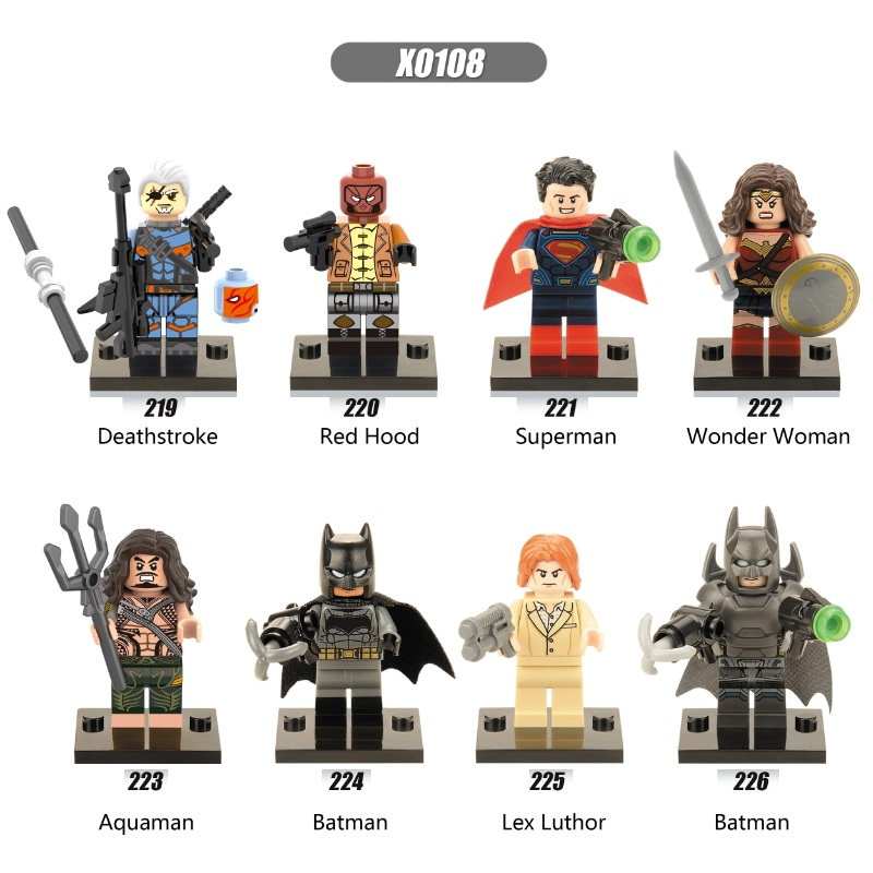 Single Sale Super Heroes Deathstroke Red Hood Aqua Man Pirates Batman Wonder Woman Superman Building Blocks Children Toys X0108
