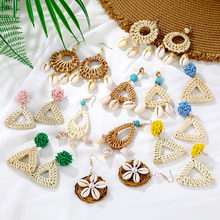 National style retro new rattan earrings bohemian conch hot natural grass handmade rattan shell earrings party gift 2019 new(China)