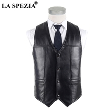 LA SPEZIA Men Sheepskin Vest Real Leather Waistcoat Plus Size Black Genuine Jacket Male Luxurious For Spring Autumn
