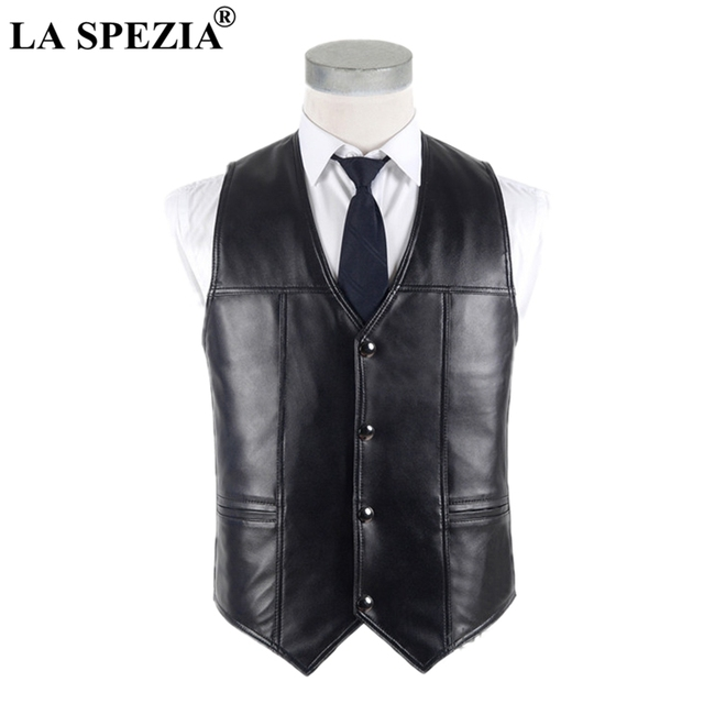 c0801fdc2812a LA SPEZIA Men Sheepskin Vest Real Leather Waistcoat Plus Size Black Genuine  Leather Jacket Male Luxurious Vest For Spring Autumn