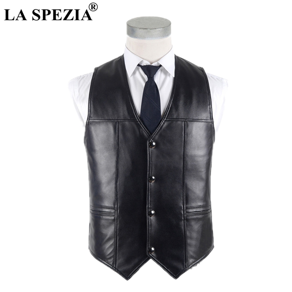 LA SPEZIA Men Sheepskin Vest Real Leather Waistcoat Plus Size Black Genuine Leather Jacket Male Luxurious Vest For Spring Autumn