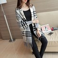 2017 Spring Autumn Elegant long sleeve Knitted Cardigan Plaid Cape Poncho Shawl Oversized long Sweater Cardigan Women pull femme