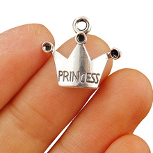 TJP 50pcs Antique Silver Tone PRINCESS Crown Charms Pendants Beads for Necklace Bracelet Jewelry Making Findings 19x17mm