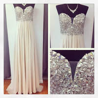 New Real Free Shipping 2014 Fashion Sexy A Line Silk Chiffon Crystals Prom Party Dresses Long