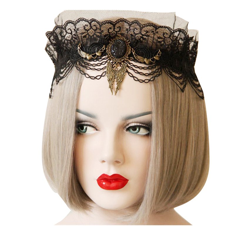 Gothic party hair accessories lace wings gem forehead headband crown   headwear   for queen princess halloween black