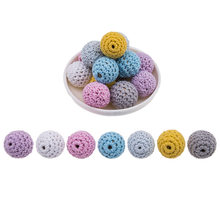 5Pcs Crochet Wooden Beads 20mm Natural Wooden Colorful Round Beads For Pacifier Chain Teething Beads Baby Teether Toys(China)