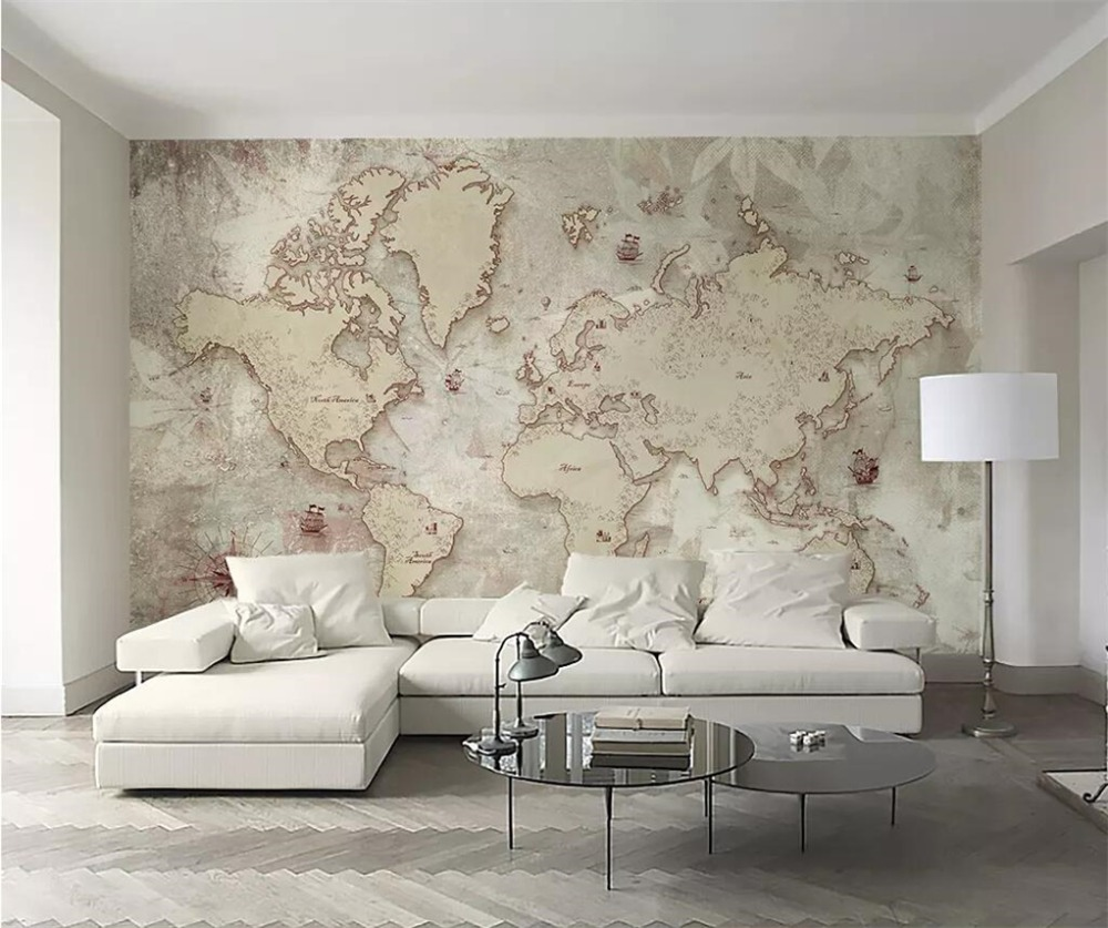 Beibehang Custom Wallpaper 3d Photo Mural Vintage Style Old American Nordic World Map Background  Wall Paper 3d Papel De Parede