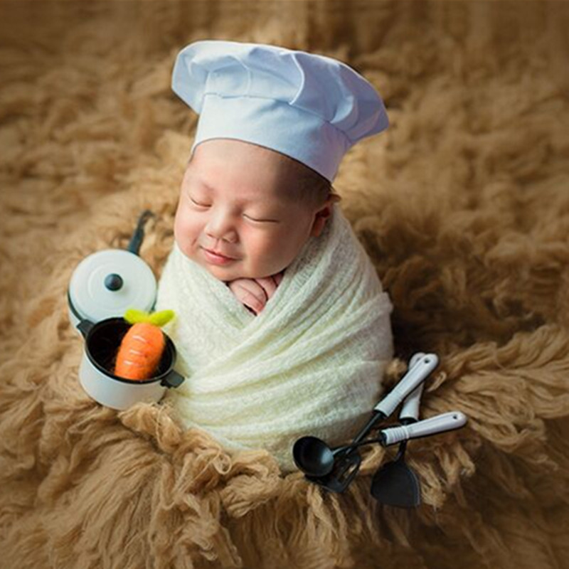 Newborn Photography PropsAccessories Baby Cook Clothes White Baby Chef Hat Stretch Wraps Photography Newborn Photo Props Wrap