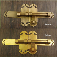 Vintage Brass Bolt Handle,Kitchen Drawer Cabinet Door Handle Furniture Knobs Hardware Cupboard Pull Handles With Lock,1Set