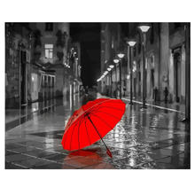 Hand Painted Canvas Oil Paintings,Paint By Number Kits,Street Umbrella Painting Coloring Numbers