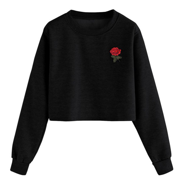 Fashion Womens Long Sleeve Sweatshirt Rose Applique O Neck Tracksuit Causal  Short Tops Flower Embroidered Sweatshirts