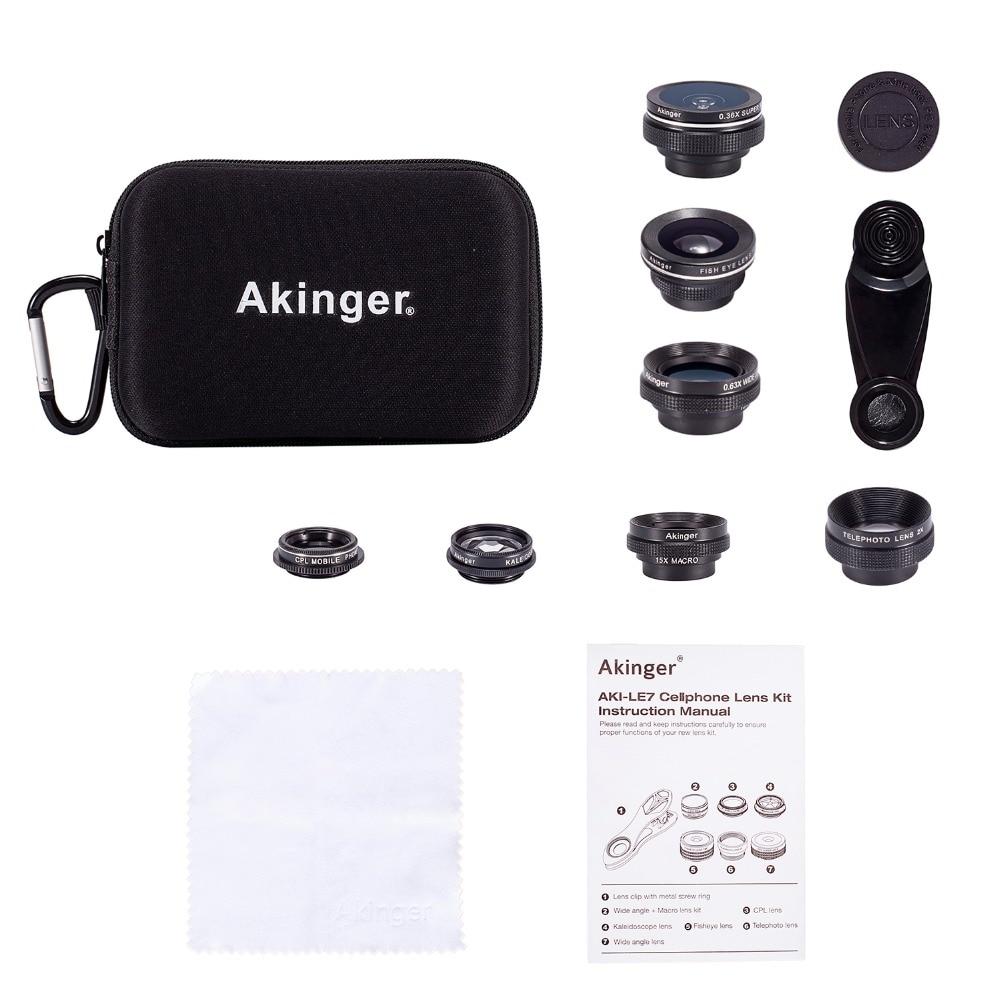 Akinger Cellulaire Téléphone Camera Lens Kit 7 dans 1 lentille Kit Fisheye Grand Angle macro etc. pour iphone xiaomi samsung galaxy android téléphones