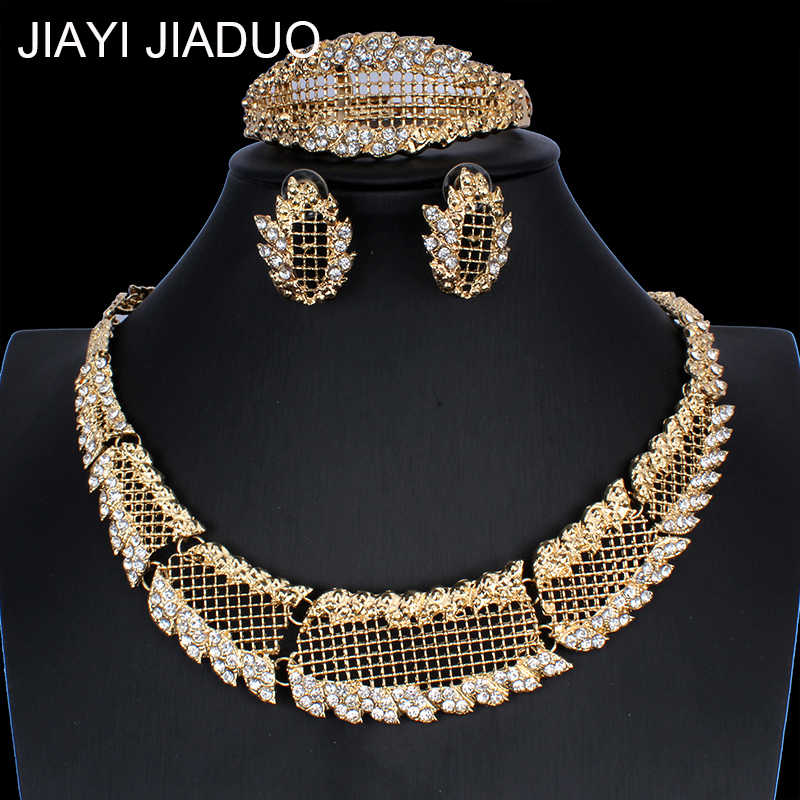 jiayijiaduo  African Pearl Wedding Jewelry Dubai Gold Jewelry Sets Romantic Color Design Jewelry Sets Long Necklace