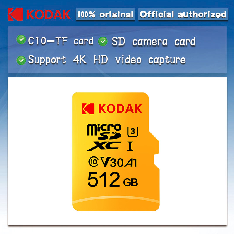 Original Kodak 512GB Micro SD card class 10 U3 4K High Speed cartao de memoria Flash