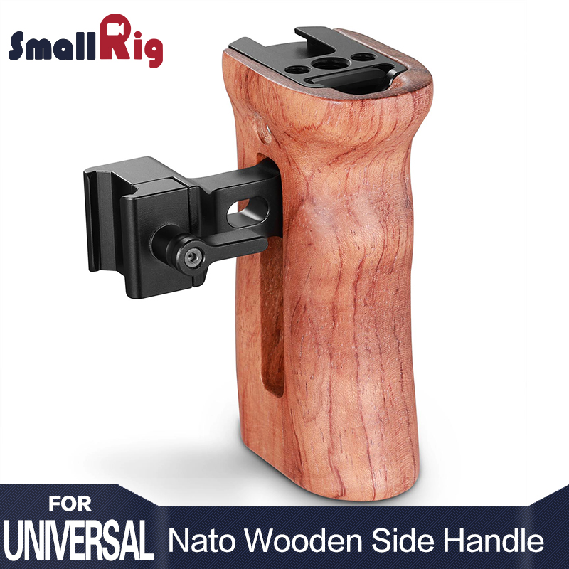 SmallRig DSLR Камера Деревянный Ручка Quick Release НАТО боковая рукоятка с Холодный башмак 1/4 3/8 резьбовых отверстий 2187