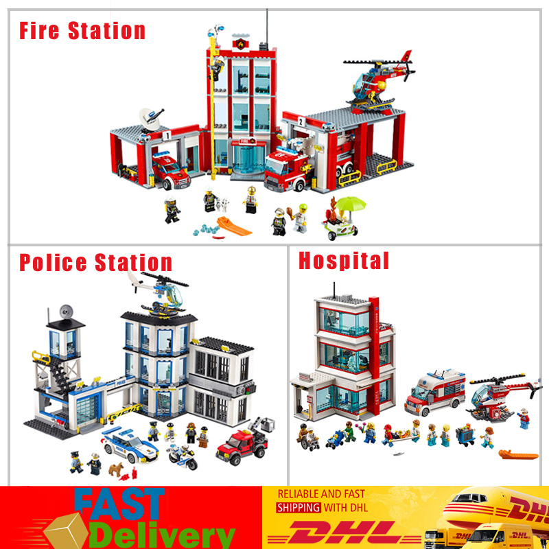 Lepin 02020 Police Station+ 02052 Fire Station +02113 Hospital Model Building Blocks Bricks Toys Compatible LegoINGlys 60141 блок питания atx 450 вт inwin rb s450t7 0
