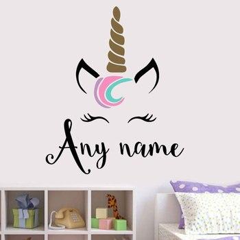 Pegatina de vinilo para muro temático con monograma de unicornio con nombre personalizado, decoración para el hogar para niñas, calcomanía para habitación infantil, papel tapiz de dibujos animados, murales B699