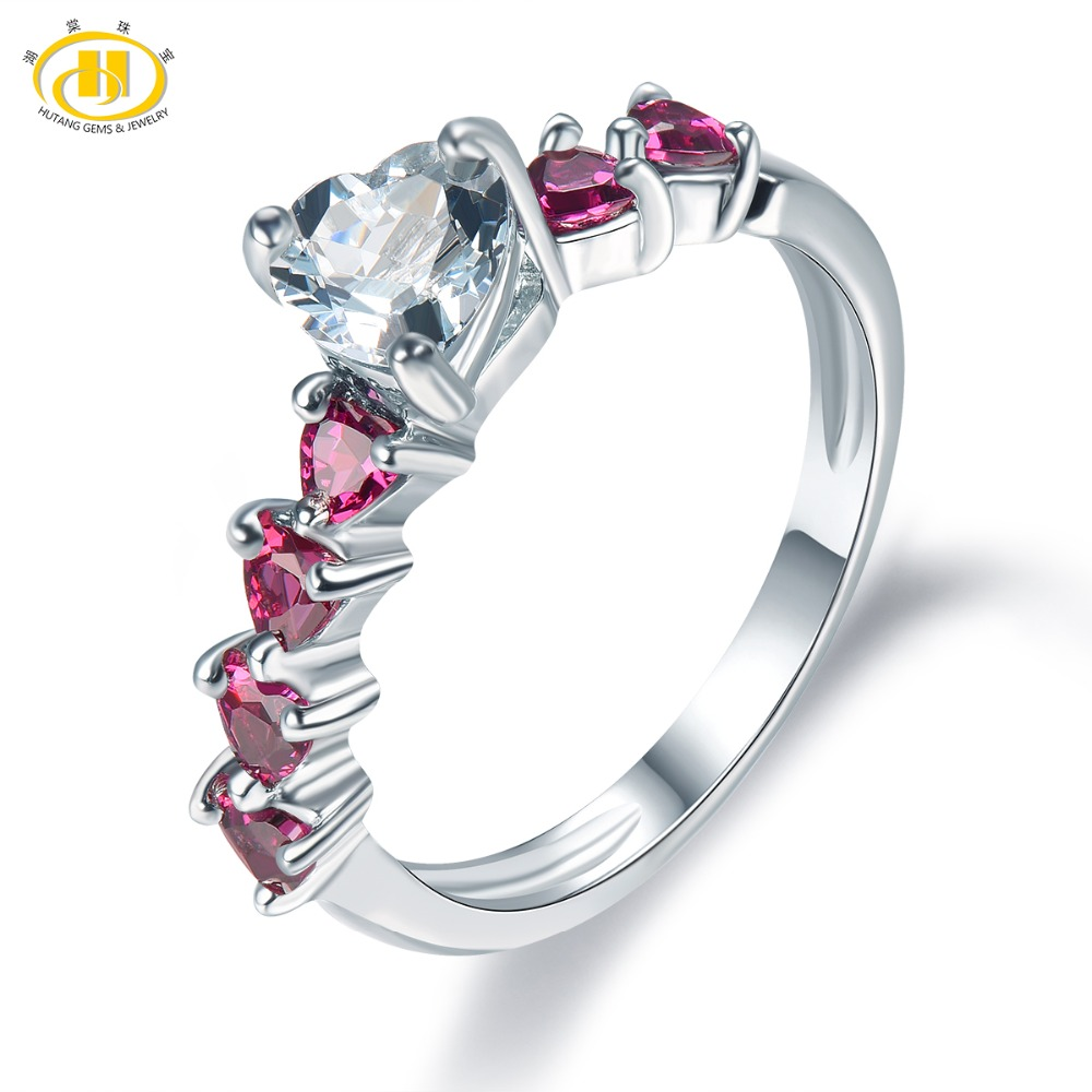 ce1a1cc0d1495 Hutang kobiet Naturalne Aquamarine i Rhodolite Garnet Gemstone 925 Sterling  Silver Serce Pierścień Dobra Moda Kamień Biżuteria
