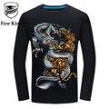 5-6XL Kirin fuego 3D Hombres de la Camiseta Mens Camiseta de Manga Larga la Marca del dragón Tigre Divertido Camisetas Streetwear del Estilo Chino de La Vendimia T425