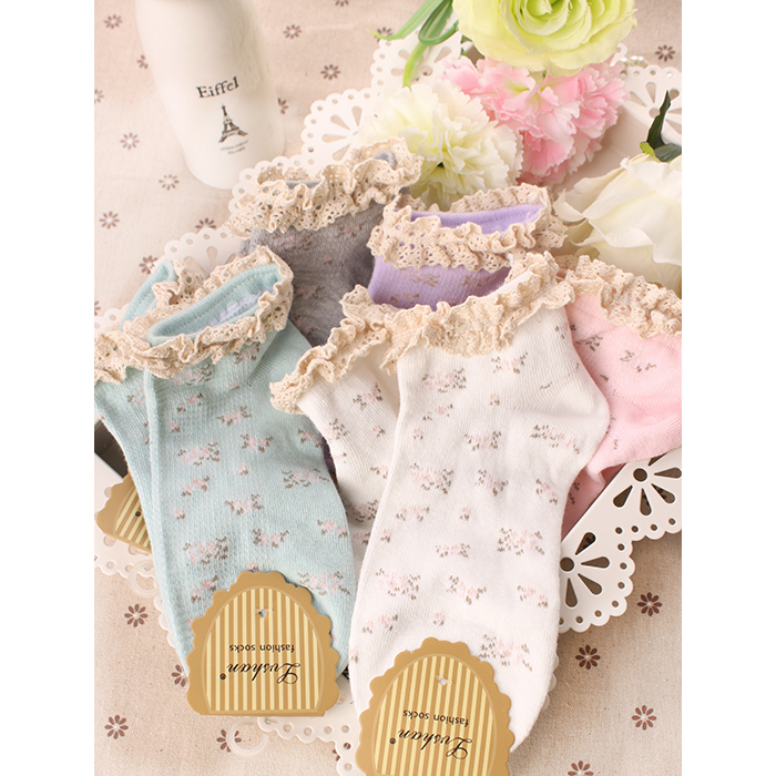 Japanese Kawaii Chausette Female Floral Garden Leisure Sen Thin Cotton Socks Cotton Soks Socken Cute Ladies Lace Sox Calcetines