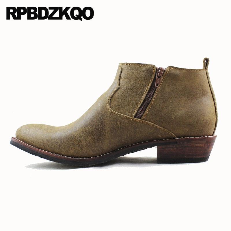 Botines de grano completo tobillo grueso Cowgirl diseñador botas de vaquero hombres de cuero genuino más tamaño cremallera zapatos de punta estrecha occidental