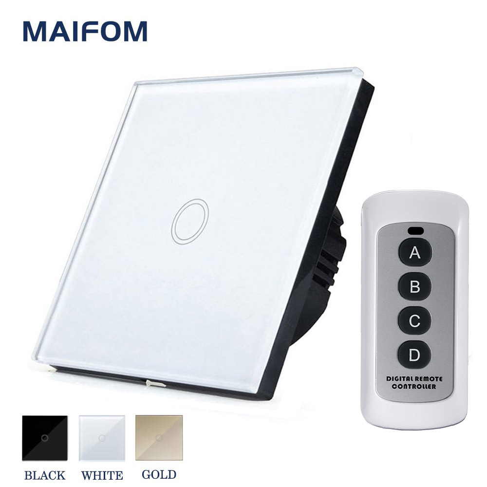 MAIFOM RS-1 Surface Waterproof Touch Switch EU Standard Touch Screen Smart Light Solution RF433 Remote Control Light Switch ewelink eu uk standard 1 gang 1 way touch switch rf433 wall switch wireless remote control light switch for smart home backlight