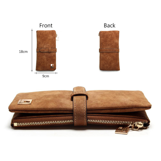 2019 New Fashion Women Wallets Drawstring Nubuck Leather Zipper Wallet Women's Long Design Purse Two Fold More Color Clutch 2