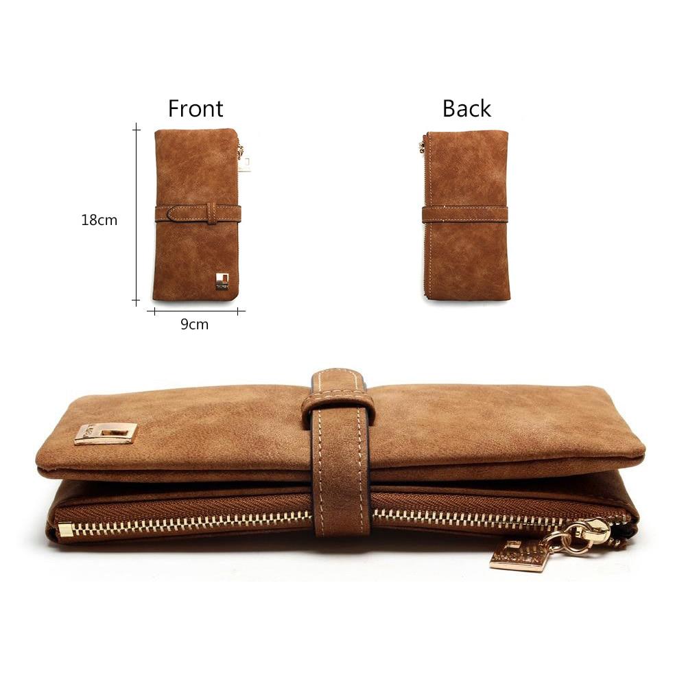2018 New Fashion Women Wallets Drawstring Nubuck Leather Zipper Wallet Women's Long Design Purse Two Fold More Color Clutch 3