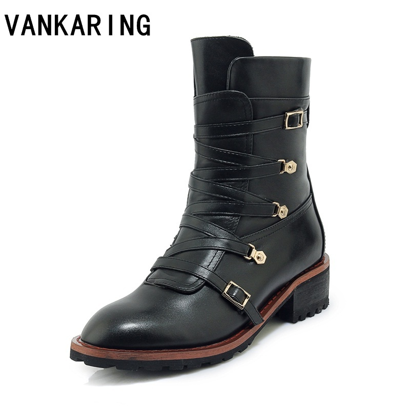 new brand design genuine leather martin boots shoes woman lace up casual punk rivets runway boots