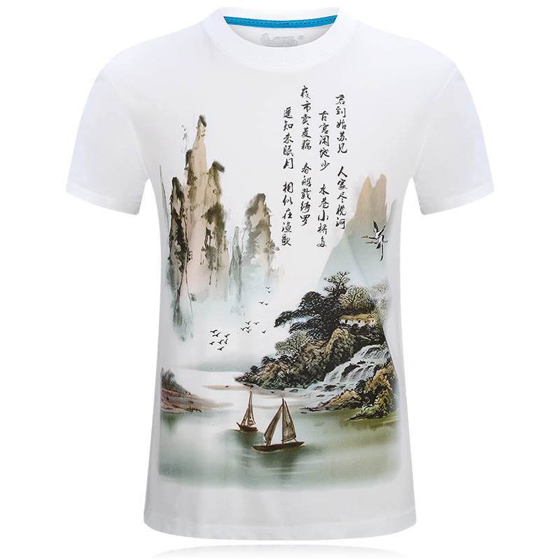 Fashion 2017 chinese style design 3d t shirt cotton white for T shirt design 2017