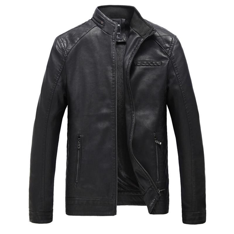 2018 Marke Moto Gewaschen Leder Jacke Männer Mode Frühling Winter Mens Solide Faux Leder Mantel Männlichen Business Plus Größe 5xl 6xl