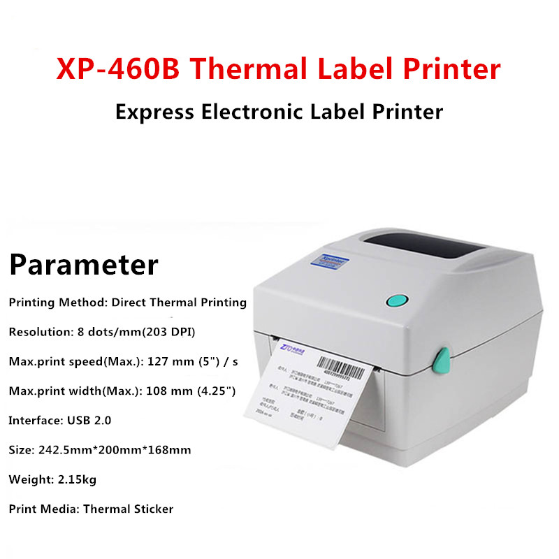XP-460B Direct Thermal Barcode Printer Commodity Label/Express Invoice Printer EUB Label Printer 203dpi 127mm/s