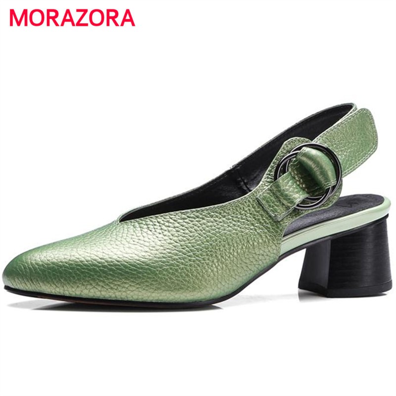 MORAZORA 2018 New Women pumps genuine leather single shoes buckle shallow high heels shoes solid big size 34-43 elegant party