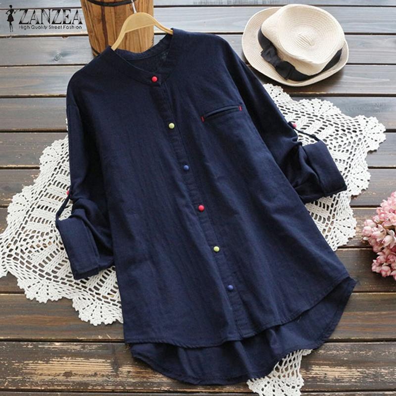 2018 ZANZEA Women Casual Long Sleeve Buttons Cotton Linen Blouse Vintage Autumn Solid Shir