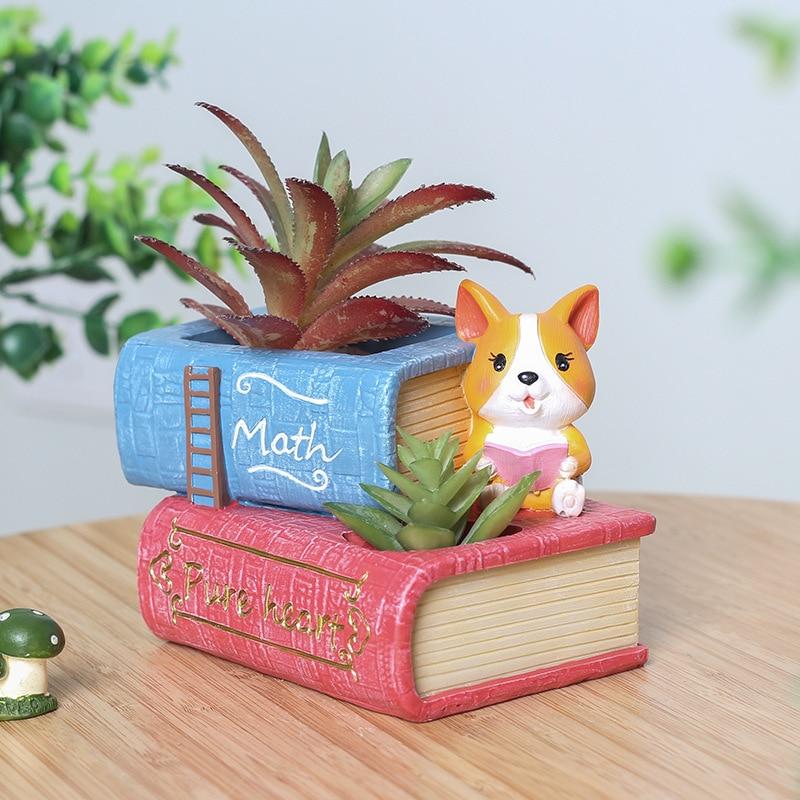 Cartoon Corgi Flower Pot Potted Decoration Office Desktop Ornaments Succulent Resin Vase Home Decoration Beautification-60184