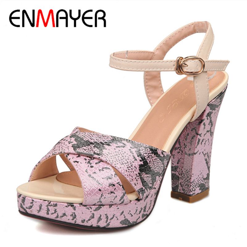ENMAYER Summer Women Sandals Soft Leather High Heels Fashion Pump Shoes Woman Buckle Strap Shoes Wedges Platform Pumps Big Size phyanic 2017 gladiator sandals gold silver shoes woman summer platform wedges glitters creepers casual women shoes phy3323