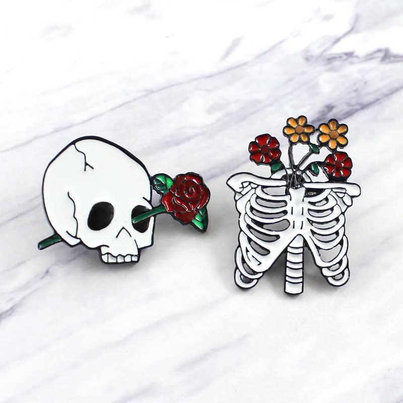 Punk Red Rose Del Cranio Spilli Rosa in Occhi e Scheletro Goth Romance Spille Punk Dello Smalto Spilli Gotico Dei Monili Broche Spille