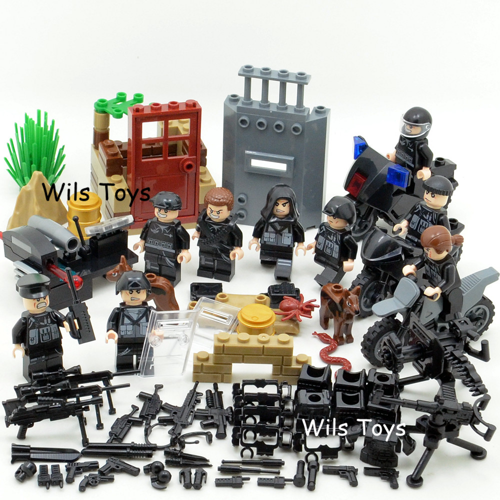 SWAT MILITARY Soldier WW2 City Gun Army Special Forces Navy Seals Team Marine Model Building Blocks Figures Bricks Toy Boys Set new model 340pcs military helicopter special forces war building blocks set army soldiers figures bricks toy for lepins children