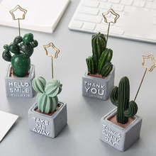 Creative Artificial Resin Succulent Cactus Jewelry Personality Desktop Small Bonsai Plant Fake Flower Ornaments Note Clip