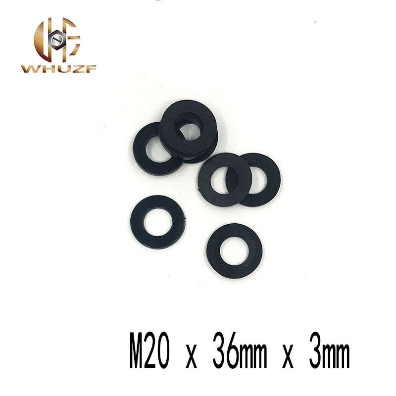 40pcs M20 M20 x 36mm x 3mm M20*36*3 mm Black B Nylon Flat Washer Plastic Insulation Plain Ring Gasket
