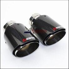 1 шт.. Автомобильный Стайлинг глянцевый + нержавеющая сталь AK Akrapovic глушитель концевой трубы выхлопной трубы глушитель для универсальных углеродных выхлопных наконечников