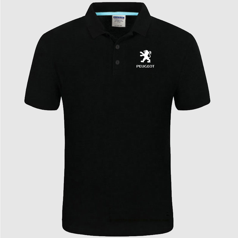 Peugeot logo   Polo   Shirt Men summer Short Sleeve   Polo   Shirt Cotton spring Casual Men's   Polos