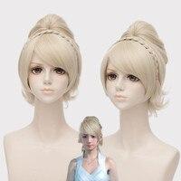 Hot Game Final Fantasy XV Lunafreya Cosplay Wigs Women Girls Princess Light Gold Hair Halloween Stage