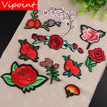 VIPOINT embroidery rose patches flower badges applique for clothing YX-239