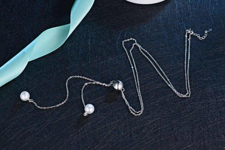 แฟชั่น 925 เงินสเตอร์ลิงยาว Necklacer สำหรับผู้หญิงเพิร์ล Rhinestone Choker เครื่องประดับอุปกรณ์เสริมของขวัญอินเทรนด์