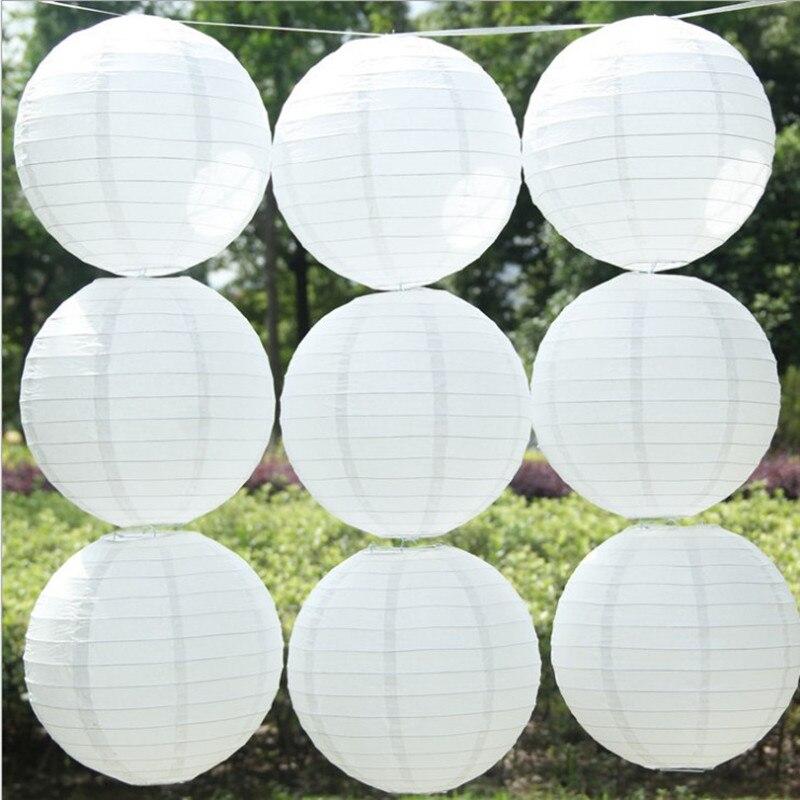 """10 """"25cm (10pc / Pack) ruční bílé kulaté závěsné festivalové lucerny Lampa Shade For For Home Decor, strany a svatby"""