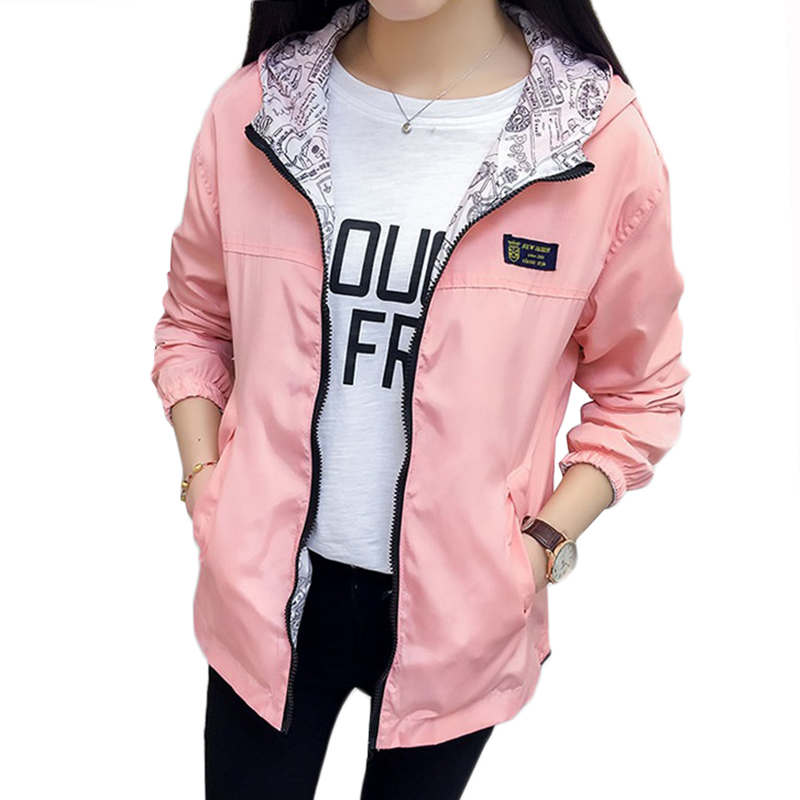 NEW Spring Autumn Jacket Women Clothes Hooded Two Side Wear Outwear Loose Plus Size Female Windbreaker Basic Coat Casual Tops