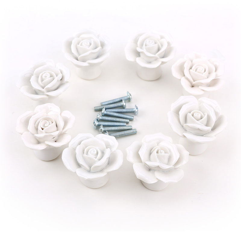 europe design white porcelain cabinet closet door knobs drawer ceramic dresser chest bin flower pull handles